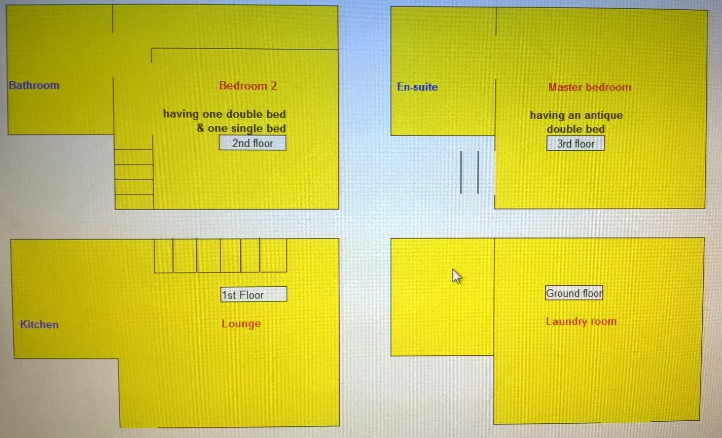 Layout of Awd Tuts Cottage rooms