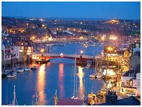 whitby harbourside at night
