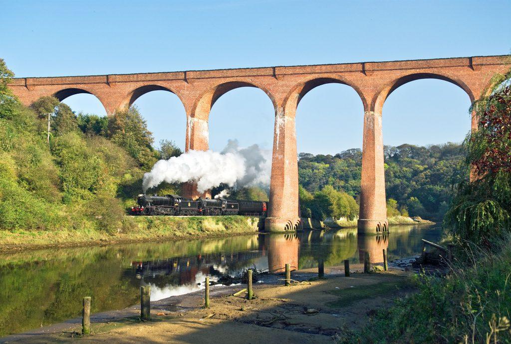 whitby steam train passes opposite